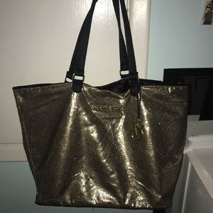 Victoria's Secret Gold Sparkly Tote/Travel Bag